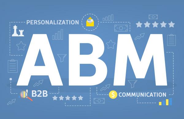 Letras ABM brancas em um fundo azul