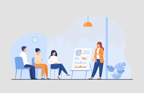 ilustração de uma mulher apresentando a 3 colegas de trabalho um gráfico com indicadores de vendas